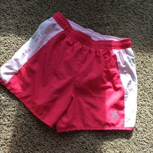 Adidas women's small pink lined running shorts